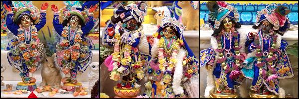 Sri Sri Gaura-Nitai, Sri Sri Radha-Shyamasundara, and Sri Sri Krishna-Balarama