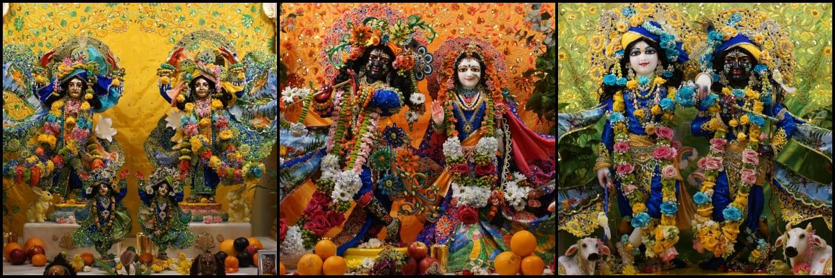 The small Deity forms of Their Lordships Sri Sri Gaura-Nitai, Sri Sri Radha-Shyamasundara, and Sri Sri Krishna-Balarama