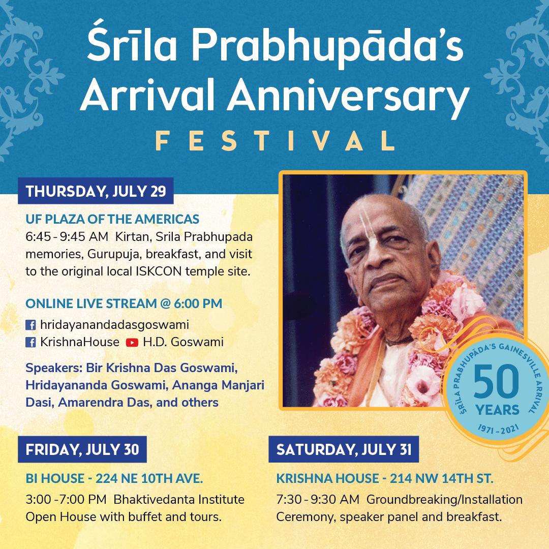 Srila Prabhupada's Arrival Anniversary Festival